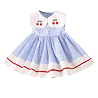 Longra 2019 New Spring Girls Dress -Toddler Kids Baby Girls Clothes Sleeveless Cherry Stripe Party Princess Dresses for 2-7 Years