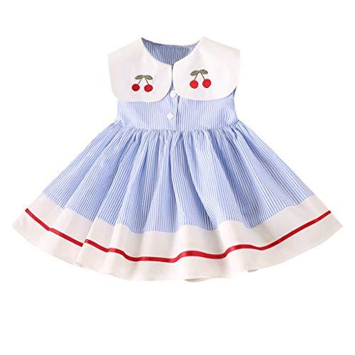 IZHH Kinder Kleider, Kleinkind Kinder Baby Mädchen Kleidung ärmellose Kirsche Streifen Party Prinzessin Kleider 2 t-7 t Mädchen Puppe Hals Kirsche gesticktes Streifenkleid(Blau,120)