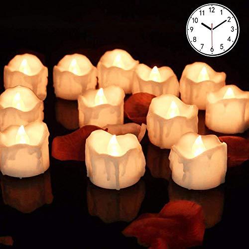 LED Kerzen mit timer,12er Warmweiß LED Flammenlose Kerzen Led Teelichter 6 Stunden an und 18 Stunden aus, flackernde batteriebetriebene kerzen, Warmweiß
