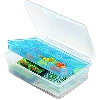 Salamii Pillendose mit 2 Schichten für Medikamente, Vitamin-Etui, für den täglichen Gebrauch und auf Reisen, Blau preisvergleich bei billige-tabletten.eu