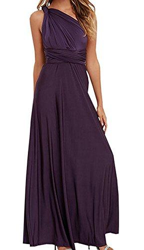 Femmes de Plage Party Soirée Swing Tunique Robes Été Sexy dos nu Longue Robe Épaules Nue Sans Manche Maxi Dress Violet