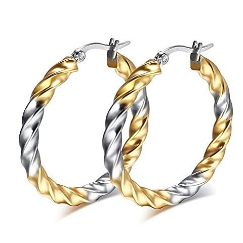 Vnox Women Girls Stainless Steel Two Tone Twist Round Hoop Earrings Silver Gold