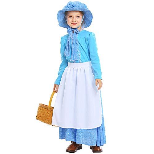 Kostüm Florence Kinder Nightingale - QYS Kind Mädchen Colonial Bauer Kostüm Märchen Prinzessin Kostüm Dienstmädchen Kostüm viktorianischen Prärie Kleid mit Hut,S