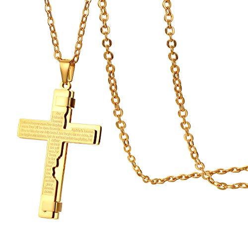 Flongo Herren-Kette Männer Anhänger Halskette Rosenkranz Kette Gold Englisch Bibel Jesus Kreuz Kruzifix Herrenketten Herren-Accessoires mit Kette