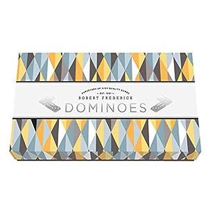 Robert Frederick Dominoes - Juego de 28 Piezas, Color Blanco con Puntos Negros, en Caja Estampada
