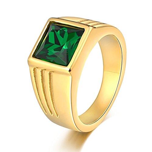 stahl Ring Herren mit Grün Zirkonia Quadrat Breite 10 MM Retro Ring Männer Gold Partnerring Größe 60 (19.1) (4 Mann Drachen Kostüm)