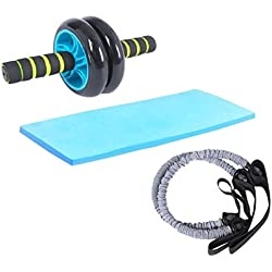 AURION UNISEX Dual Wheel AB Roller Abdominal Toner Exerciser with 2 Latex Resistance Tubes - For Core Abdominal Workouts and Belly Fat Burner.