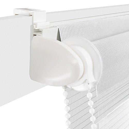 Homelux Doppelrollo Duo-Fensterrollo Klemmträger Kettenzug Seitenzug 50 x 100 cm Weiss - 4