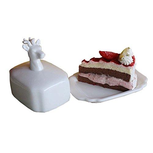 Creative Design Beurre Porcelaine Plat garde Beurre décoratif avec couvercle animal couverture, Cerf
