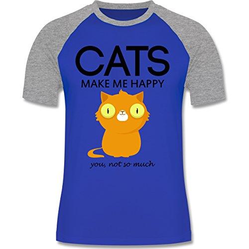 Katzen - Cats make me happy - you not so much - zweifarbiges Baseballshirt für Männer Royalblau/Grau meliert