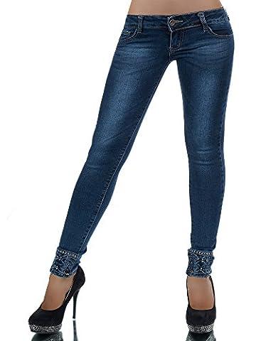FASHION BOUTIK jean taille basse bleu slim avec strass et noeuds en bas femme sexy 36 38 40 42 (42)