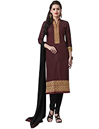 Kvsfab Women's Cotton Readymade Salwar Suit Straight Cut Style, Maroon