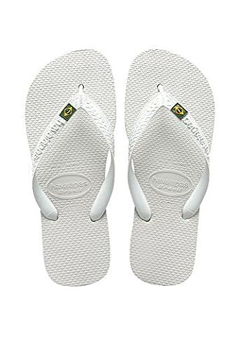Havaianas Baby Brasil Logo Tongs bb fille - Rose, Blanc (White 0001) - 45/46 EU ( 43/44 Brazilian)