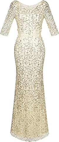 Angel-fashions Femme V Neck Sequin demi-manches Mermaid robe fourreau XXLarge champagne