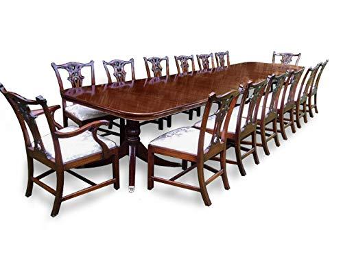 Großer Esstisch im Grand Regency-Stil, aus brasilianischem Mahagoni, mit 14 Esszimmerstühlen im Chippendale-Stil Pro French poliert -