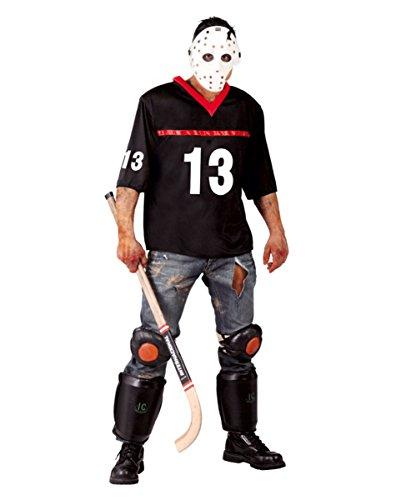 Horror Eis-Hockey Zombie Sportler Kostüm mit Maske für Halloween Partys One Size (Eishockey Halloween Kostüm)