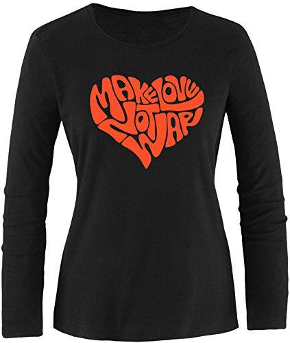 EZYshirt® Make love not war Damen Longsleeve Schwarz/Orange