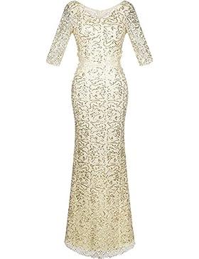 Angel fashions Damen V-Ausschnitt Paillette Halbe Ärmel Meerjungfrau Mantel Maxi Hochzeitskleid