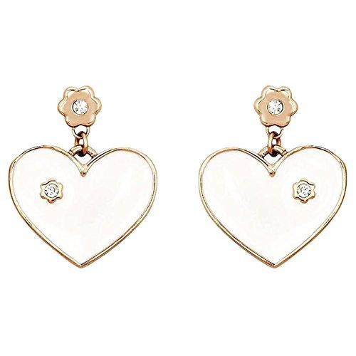 2Jewels a forma di cuore Orecchini in acciaio placcato in oro con zirconi bianco smaltato 261165