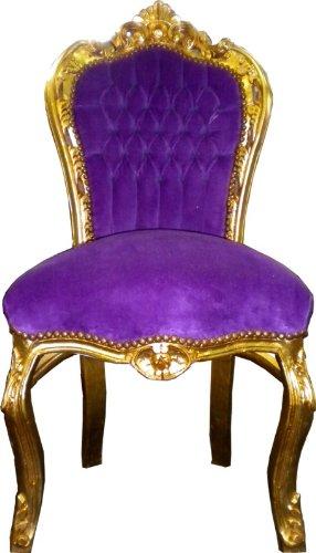 Barock Esszimmer Stuhl Lila/Gold - Thron Sofa Möbel Rokoko Prunk Tron Prunkstuhl
