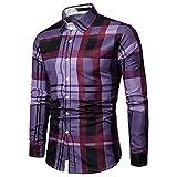 Freizeithemd Herren Slim Fit Sannysis Hemd Modern Super Qualität Diamant-Gitter Karohemd Kariert Langarmshirt Freizeit Business Party Shirt für Männer