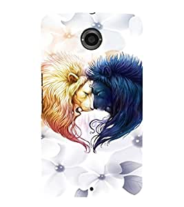 EPICCASE Lions head-to-head Mobile Back Case Cover For LG Nexus 6 (Designer Case)