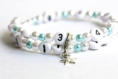 Bracelet d'allaitement de couleur blanc et turquoise claire en acrylique