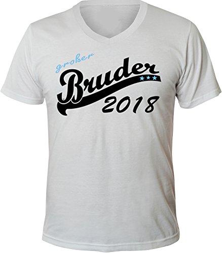 Mister Merchandise Herren Men V-Ausschnitt T-Shirt Großer Bruder 2018 Tee Shirt Neck bedruckt Weiß