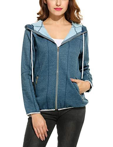 Parabler Damen Sweatjacke Hoodie Sweatshirt Pullover Oberteile Kapuzenpullover V Ausschnitt Patchwork Pulli mit Kordel und Zip Blau S - Patchwork Zip