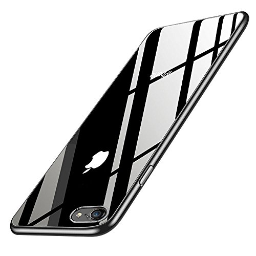 Preisvergleich Produktbild iPhone 8 Handyhülle, iPhone 7 Silikon Hülle, innislink Kratzfest Weiche TPU Schutzhülle Ultra Dünn Stoßfesten Crystal iPhone 8/iPhone 7 Bumper Case Cover für Apple iPhone8/iPhone7 Hülle - Jet Schwarz