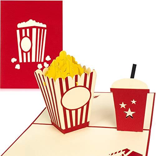 PaperCrush® Pop-Up Karte Kino [NEU!] - 3D Gutscheinkarte als Geschenk oder Verpackung zum Kinogutschein - Handgemachte Geburtstagskarte mit Popcorn inkl. Umschlag