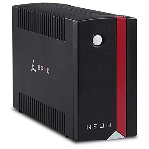 EPYC Neon UPS, Gruppo di Continuità per PC, Potenza 650VA/360Watt, Tecnologia Line Interactive, AVR, Nero