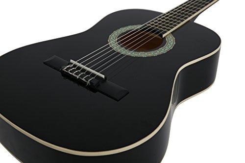 NAVARRA Konzertgitarre 4/4 schwarz mit cremefarbigen Randeinlagen und leicht gepolsterter Tasche mit Rucksackriemen und Notenfach, 2 Plektren - 3