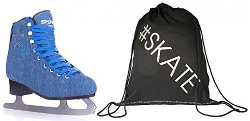 SET - SPOKEY VOGUE Eiskunstlauf-Schlittschuhe + ULTRAPOWER Beutelrucksack | Erwachsene | Kinder | Jeans-Design | Edelstahlkufen | Gepolstert | 36-42, Farben:Blue,...