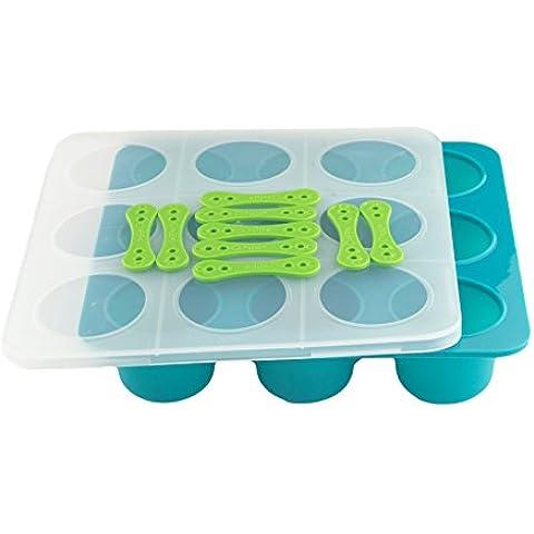 Tootsy Boo - Contenitori per congelatore, per cibo per bambini, forma per cubetti con robusto coperchio a clip, con tappo in silicone senza BPA, per 9 porzioni da 60 grammi ciascuna, una volta cresciuto il bambino, il prodotto diventa uno stampo per ghiaccioli (con stecchi inclusi), muffin, cioccolatini, cupcake, gelatine e altro ancora