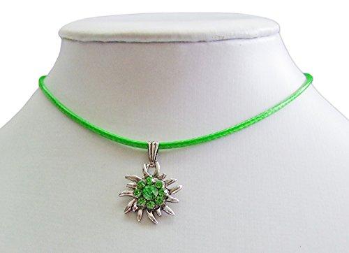 Das Kostümland Kinder Trachten Halskette mit Strass Edelweiß-Anhänger - Grün - Süßer Schmuck für Mädchen zu Dirndl und Kleidern