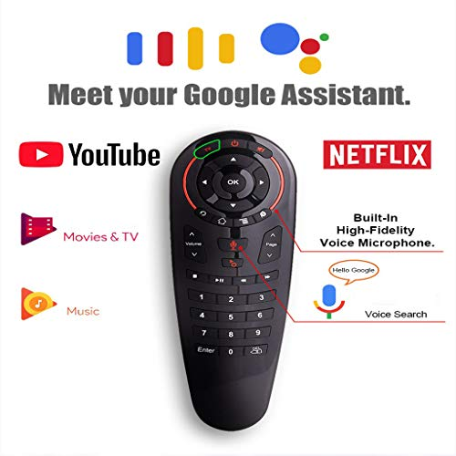 HappySDH Wireless G30 Voice Control Google Assistant Voice Remote Control 2.4G Fliegende Maus Und Tastatur Bewegungssensor Mini Remote (Schwarz) - Remote Google