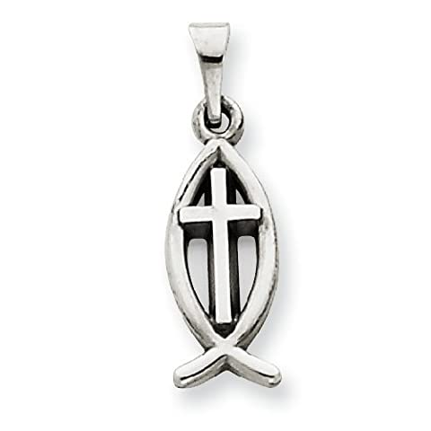 PriceRock 14k White Gold Cross Ichthus Fish Charm