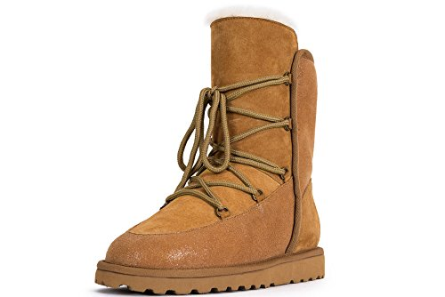 OZZEG lacets hiver bottes neige chaussures en peau de mouton laine doublure femmes Brun