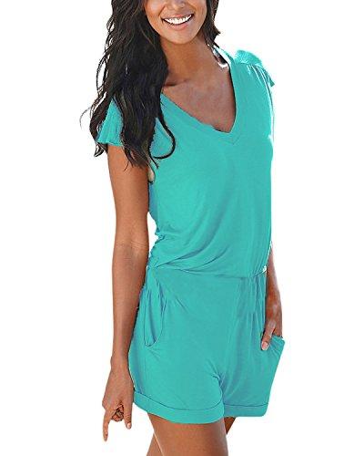 ZANZEA Femme Col V Manches Courtes Taille Elastique Jumpsuit Romper Shorts Combinison Combishort Bleu Lac