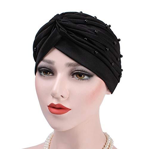 h Chemo Head Cap - Kurze Perlen Turban Geraffte weiche Abdeckung Hut Schal für Haarausfall Frauen Mädchen -