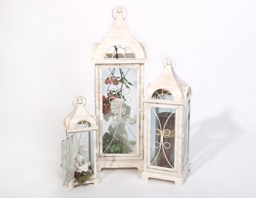 Ravello lanterne en métal blanc/style ancien hauteur 36 cm, largeur 12 cm (petit pot)
