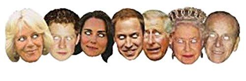 erdbeerclown- Erwachsene Britische Königsfamilie, Royal Family, 7 Masken, Mehrfarbig (Royal Vampire Halloween Kostüm)