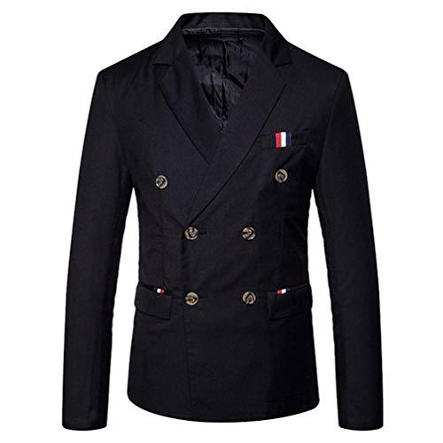 HX fashion Herren Doppelreiher Sakko Blazer Anzug Jacke Smart Smoking Slim Bequeme Größen Fit Mantel Hochzeit Elegant Outerwear Anzugjacken Herbst Kleidung (Color : Schwarz, Size : M)
