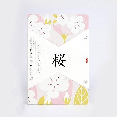 DEBON Japanese-style Graffiti Book Blank Notebook Diary Handbook Notepad Great Stationery (Cherry Blossom)