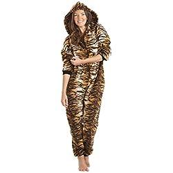 Combinaison pyjama à capuche de luxe - poches - motif tigre - femme - doré/marron - taille 38 à 60 38/40