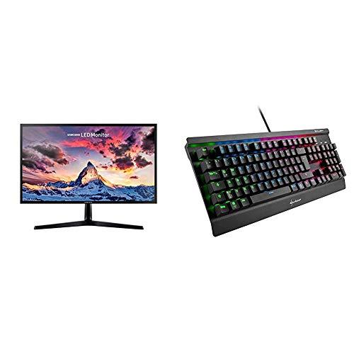 Samsung S24F356F Monitor, 59,8 cm (23,5 Zoll), schwarz & Sharkoon Skiller Mech SGK3 Mechanische Gaming Tastatur (mit RGB-Beleuchtung, rote Schalter, N-Key-Rollover, 1000 Hz Polling Rate) schwarz