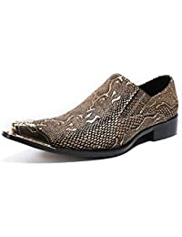 0165c52cb95d Men s Oxford Shoes Pointed Metal Toe Gold Leather Slip on Loafers for  Business Evening Dress Party