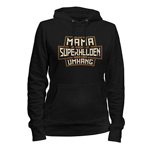 Fashionalarm Damen Kapuzen Pullover - Mama - Nicht alle Superhelden haben einen Umhang   Fun Hoodie mit Spruch Geschenk Idee Geburtstag Muttertag, (Zeichen Superhelden Frauen)