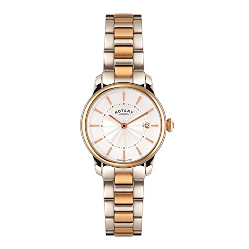 Rotary Women's Quartz Watch with White Dial Analogue Display and Rose Gold Stainless Steel Bracelet LB02772/06